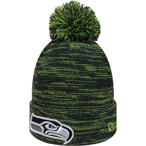 New Era Marl Knit Bommelmütze Seattle Seahawks Blau Grün (Sideline Knit Browns Hat)