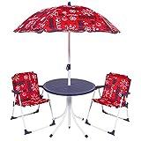 BAKAJI Set Tavolo con Ombrellone e 2 Sedie Pieghevoli per Bambini in Acciaio e Tessuto Oxford Esterno Giardino (Rosso)