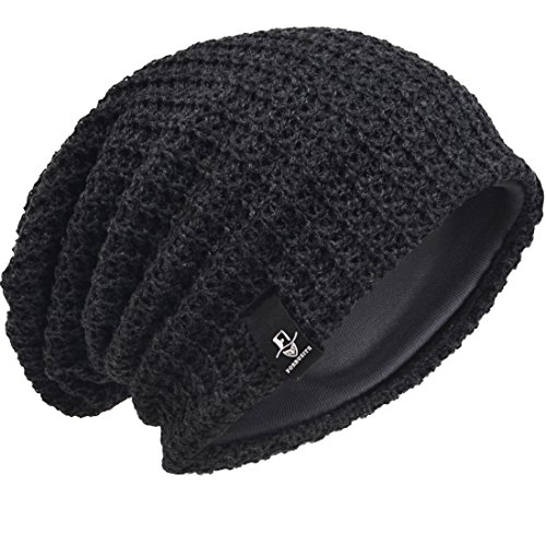 HISSHE Men Oversize Beanie Slouch Skull Knit Large Baggy Cap Ski Hat B08