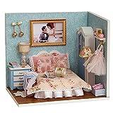 Yangxuelian DIY Holz Puppenhaus handgefertigte Miniatur Kit gemütliche Zeit Zimmer Modell Möbel mit LED-Licht (Happy Moment) (Color : Multi-Colored, Size : 15.1 * 11.6 * 13.1cm)