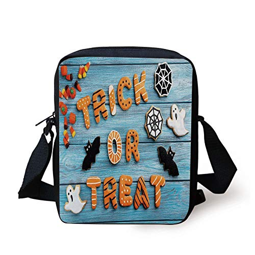 Halloween,Fresh Trick or Treat Gingerbread Cookies on Blue Wooden Table Spider Web Ghost Decorative,Multicolor Print Kids Crossbody Messenger Bag Purse (Cookies Web Spider Halloween)