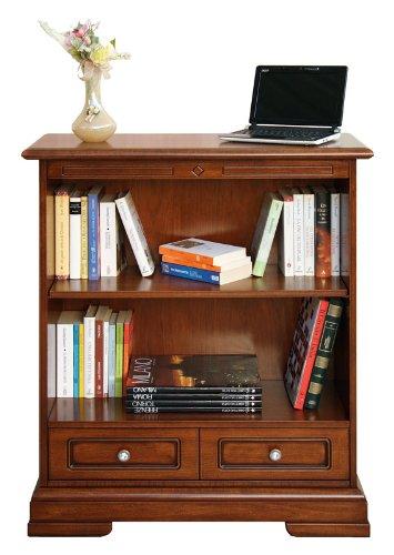 Libreria stile classico: 1 cassetto/1 ripiano regolabile in altezza, mobile salva spazio: tinta ciliegio patinato, pomoli bronzati, arredo per soggiorno/salotto/camera da letto, italia, dimensioni: l83.5xp33.8xh97.5 cm