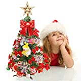 lulalula Mini Christmas Tree Stand Desktop Tree Set Gift Decoration Small Tree for Hotel Bar Party Christmas Ornament (As shown)
