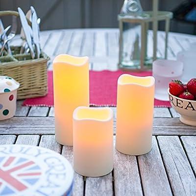 Lights4fun LED Kerze mit Zeitschaltuhr Aussen 11,5cm