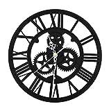 OTOTEC 30CM Grand Horloge Murale Équipement Ronde Vintage Art Maison Décoration Moderne Noir