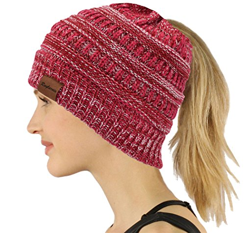 Chunky Cable Knit Slouchy Beanie, trendige Unisex, dicke weiche warme Winter Mütze Cap (Rose rot)