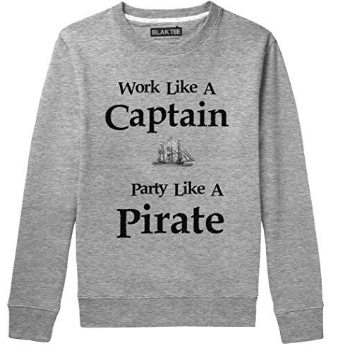 BLAK TEE Hombre Work Like A Captain Party Like A Pirate Slogan Camisa De Entrenamiento L
