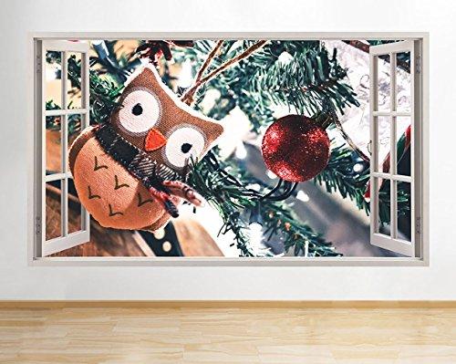 tekkdesigns G207Eule Weihnachten Dekoration Hall Fenster Wand Aufkleber 3D Kunst Aufkleber Vinyl Raum