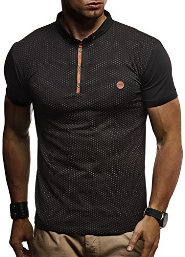 LEIF NELSON Herren Sommer T-Shirt Polo Kragen Slim Fit Baumwolle-Anteil | Basic schwarzes Männer Poloshirts Longsleeve-Sweatshirt Kurzarm | Weißes Kurzarmshirts lang | LN1295 Schwarz XX-Large
