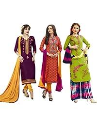 Set of 3 Thankar Crepe Dress Material (TDM141-5944.5945.5941_Multi)