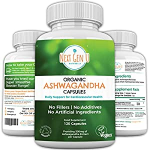 Next Gen U | Organic Ashwagandha Veggie Tabletten | 120 Glutenfrei Vegan Kapseln | Stress Relief Anti Angst | Soil Association und Vegan Society Zerti