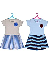 Sathiyas Girls 100% Cotton Gathered Dresses(Pack of 2)