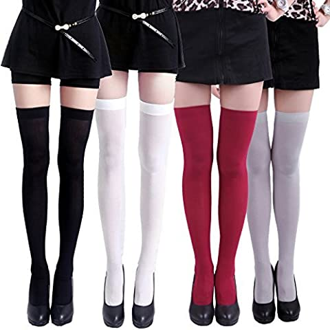 HDE Women's 4-Pack of Solid Color Opaque Sexy Thigh High Stockings Socks (One Size Plus)