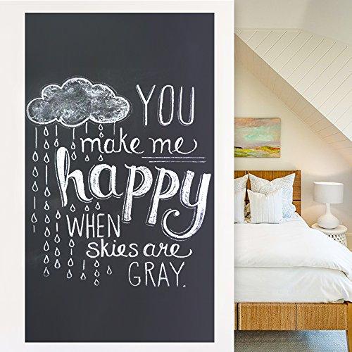 Rabbitgoo Tafelfolie selbstklebend Kreidetafel für Schule Zuhause und Büro mit 5 Stück Kreide Schwarz 44.5 x 200cm