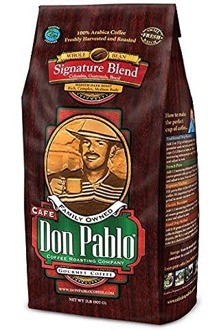 Cafe Don Pablo Gourmet Coffee Signature Blend - Medium-Dark Roast - Whole Bean - 2 Lb Bag (907 g)