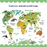 Kids Room Home Decor Great Colorful World Map DIY Removable Wall sticker Decal
