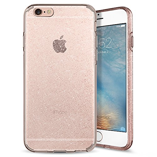 iPhone 6S Hülle, Spigen® [Liquid Crystal Glitter] Glitzer Design [Rose Quartz] Glänzende Soft Flex Premium TPU Silikon Bumper Style Handyhülle Perfekte Passform Schutzhülle für Apple iPhone 6/6S Case Cover - Rose Quartz (035CS21416)