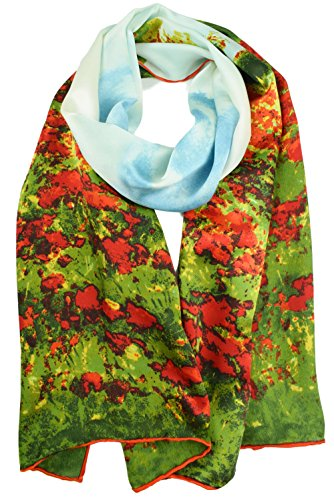 ELEGNA Damen Schal, 100% Seide, Kunst-Kollektion, langer Schal, handgerollter Rand - Rot - Mittel -
