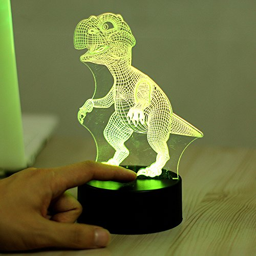 Image of Colorful 3D Visual Led Night Lights for Kids Touch USB Table Lampara Lampe Baby Sleeping Nightlight (Dinosaur)