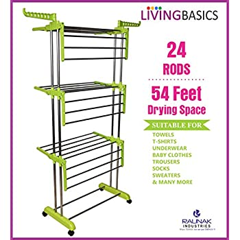 LivingBasics Heavy Duty Rust-free Stainless Steel Foldable Storage Double Pole Cloth Drying Stand/Clothes Dryer Stands/Laundry Racks with Wheels for Indoor/Outdoor/Balcony (Lime Green)