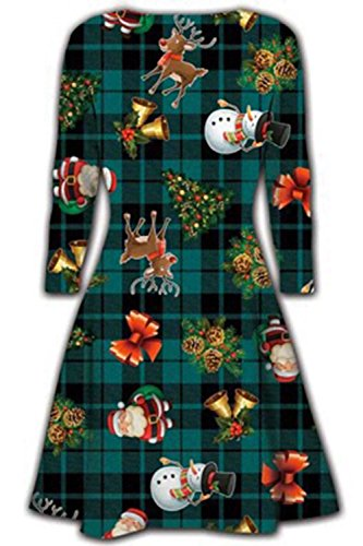 Oops Outlet Damen Kurzes Kleid Weihnachten Bäume Weihnachten Santa Olaf Schneemann Rentier Rudolph Geschenk Glocken Geschenk Damen Swing Top Plus Größe EU 36-50 - Geschenk Baum Weihnachtsmann Grün Tartan, 40/42