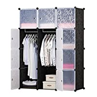 BRIAN & DANY 12-Cube Clothes Closet, Plastic Wardrobe with Doors & 2 Hangers, Deeper Cubes Than Normal (45 cm vs. 35 cm) for Larger Capacity