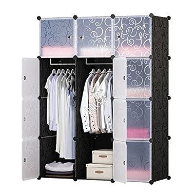 BRIAN & DANY Kleiderschrank aus 8 Würfeln, Garderobenschrank Steckregalsystem Kunststoffschrank mit Türen & 1 Aufhängern, tiefere Fächer als normal (45 cm vs. 35 cm) für mehr Platz