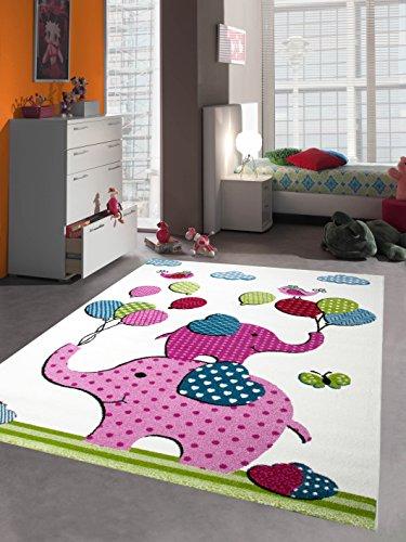 Kinderteppich Spielteppich Kinderzimmer Teppich Babyteppich bunte Elefanten pink rosa türkis grün Größe 120 cm Rund