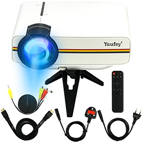 Yaufey 1200 Lumen Mini-LED-Projektor Multimedia Home Cinema Unterstützung PC Laptop Smartphone Xbox Portable für Heimkino Theater Entertainment und Spiele, perfektes Geschenk für Weihnachten, Weiß