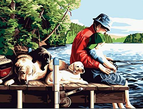 Unbekannt DIY Malen Nach Zahlen-Ölgemälde Wohnkultur Angeln Digitale Acrylfarbe Kit Ölgemälde Von Zahlen Auf Leinwand Zeichnung Bild Für Wandkunst Einzigartiges Geschenk 40 X 50 cm Rahmenlos