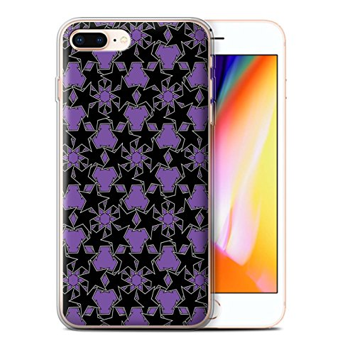 Stuff4 Gel TPU Hülle / Case für Apple iPhone 8 Plus / Gelbes Muster Muster / Zerstreute Sterne Kollektion Violettes Muster
