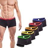 WOJOER Herren Boxer Shorts, Cotton Stretch Shorts eng anliegend, 5erPack grün/gelb/orange/rot/blau, Designer Unterwäsche vom Innovations-Label, Made IN Germany