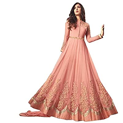 Nirja Women's Net Embroidered Salwar Suit (1257, Light Orange, Free Size)