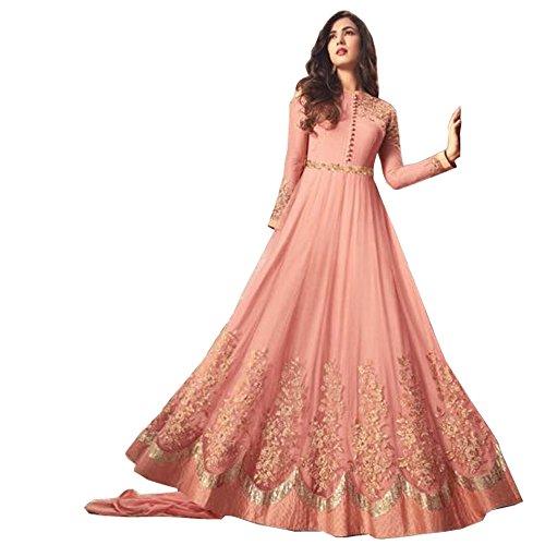 Neerja Women\'s Net Embroidered Salwar Suit(1257_Light orange_Free size)