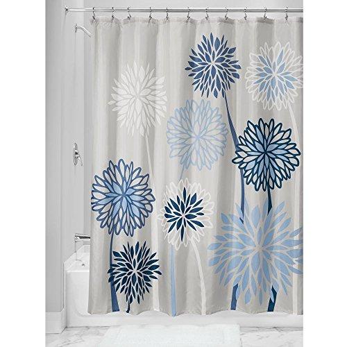 Interdesign botanical poly tende per doccia in tessuto impermeabile, tenda vasca da bagno in poliestere con allegro motivo floreale, grigio e blu