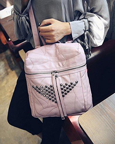 Donna Borse a Zainetto Pelle Sintetica Borsetta Borsa Stile Rivetto Perno Black Grigio chiaro Pink