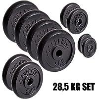 C.P. Sports Sets 28,5kg Hierro Fundido Juego, 57kg, 84kg Pesa Set verschiede Pesas (30mm, Bumper Plates, 0,5–1,0–1,25–2,5–5–10–15–20kg, 28,5 kg Hantelscheiben Set