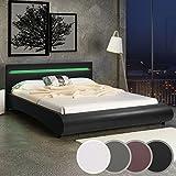 Miadomodo - Cadre de lit en simili cuir avec sommier à lattes et éclairage LED – Noir – 180 x 200 cm – COLORIS ET TAILLE AU CHOIX