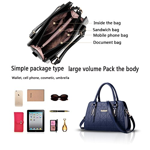 Tisdain Sacchetto di viaggio commovente del raccoglitore delle signore del sacchetto del messaggero della spalla della borsa delle donne della borsa delle donne blu