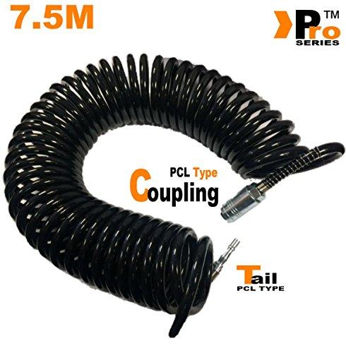 7,5m schwarz Coil Schlauch mit PCL Typ Kupplung & PCL Typ