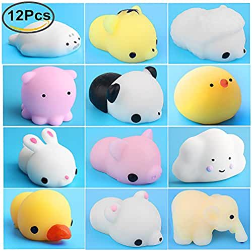 mini kawaii miniaturas kawaii Mini Squishies, Outee 12 PCS Squishies Lento Levantamiento suave Squishy Juguetes Kawaii Animal Squishy Mini Sello Conejo Pollo Elefante Pato Oveja Panda Mochi Squeeze Toys, Random Color