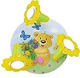 Elobra Kinder Lampe Rondell Teddy Bär Deckenleuchte Kinderzimmer Holz, grün / gelb 131251
