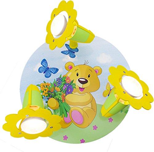 Bären-deckenleuchte (Elobra Kinder Lampe Rondell Teddy Bär Deckenleuchte Kinderzimmer Holz, grün/gelb 131251)