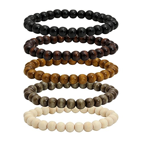 MILAKOO 5 Stück Holz Perlen Armband Armreif für Männer und Frauen elastische 8MM Perle (Armreif Perle Armband)