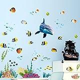 Wallpark Unterwasser Welt Delphin Fisch Algen Koralle Abnehmbare Wandsticker Wandtattoo, Kinder Kids Baby Hause Zimmer Kinderzimmer DIY Dekorativ Klebstoff Kunst Wandaufkleber
