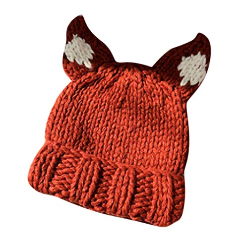 Wawer Wintermütze Damen Strickmütze Warme Beanie Mütze mit Katzen Ohren Form (Orange)