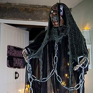 Mort-Vivant Halloween Animé à Suspendre au Crâne Lumineux par Lights4fun