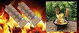 2 teiliges Flammlachs-Set: 2 Buchenholz Flammlachs-Bretter inkl 2 Edelstahlhalter zur Befestigung an Feuerschalen mit verstellbarem Neigungswinkel