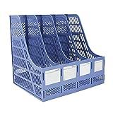 Lemical - Cartellina portadocumenti a 4 scomparti, in plastica spessa, organizer stabile per documenti da ufficio, con etichette vuote Blu