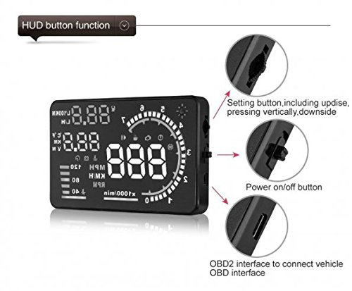 KKmoon Auto Car HUD Head Up Display, 5 5 Inches Large Screen